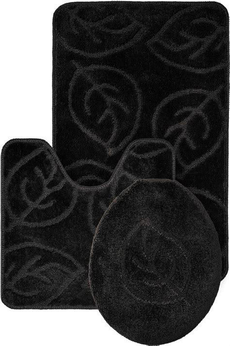 Black Bath Rug Set by Leaf Pattern Design 3 Bath Mat Rug Set Everyday