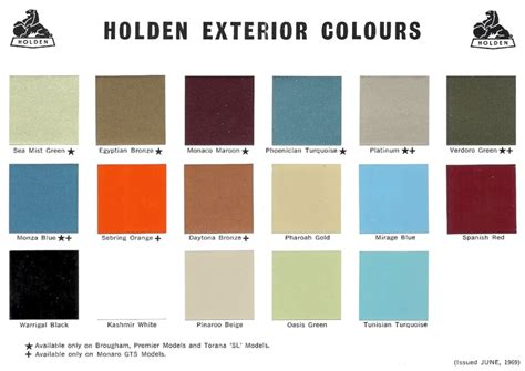 1969 holden paint charts and color codes