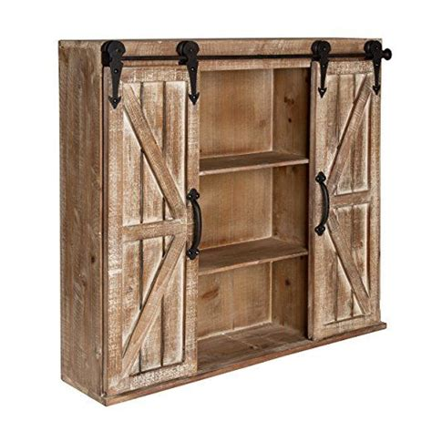 wood barn door storage cabinet kate and laurel cates rustic wood wall storage cabinet