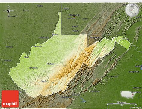 physical map of virginia physical 3d map of west virginia darken