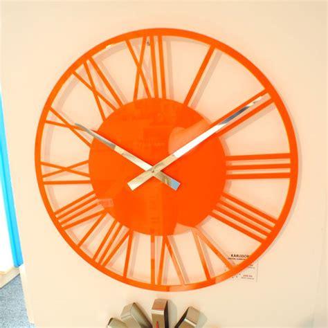 modern orange wall clock gloss orange skeleton wall clock uk