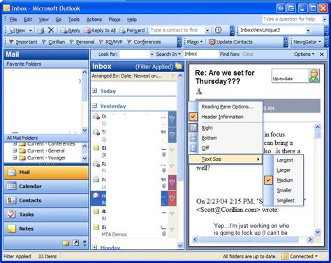 why has my outlook email layout changes changing the font size of the reading pane in outlook 2003