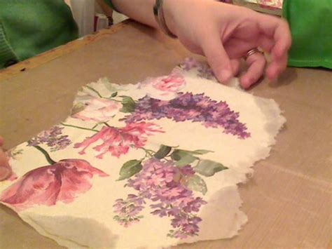 Decoupage Painting Techniques - how to napkin collage 2 decoupage