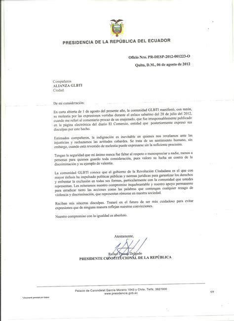 ejemplo carta de disculpa respuesta oficial del econ rafael correa presidente de