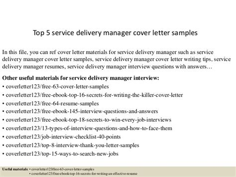 service delivery manager cover letter top 5 service delivery manager cover letter sles