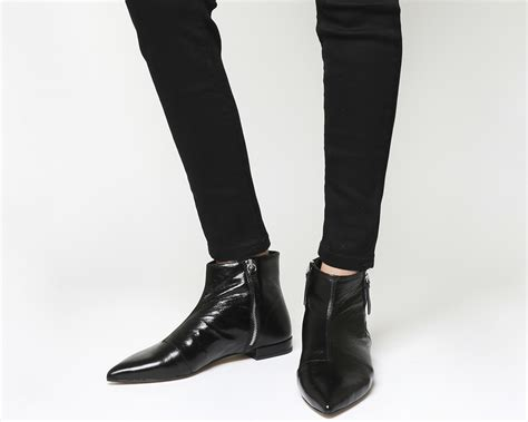 office arrow flat pointed ankle boots black leather