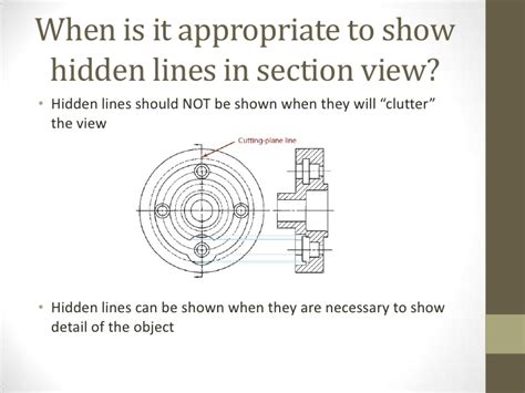 are hidden lines shown in a section view class 11 presentation