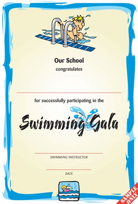 blank certificates swimming award certificate swimming certificate sw02