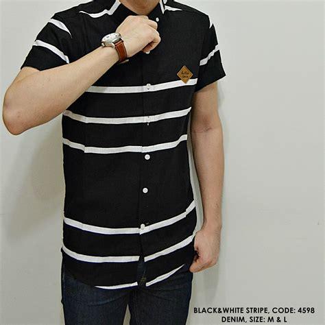 Baju Pakaian Kemeja Pria Cowok 39 jual kemeja cowok pria kerja kantor bross stripe