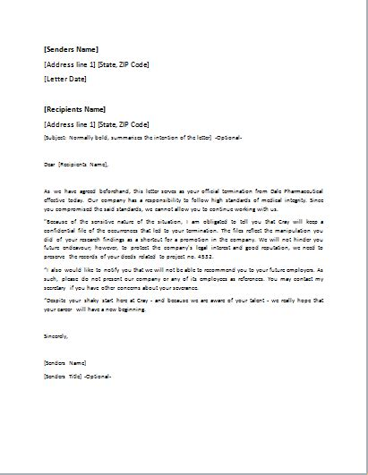Reference Letter After Dismissal Dismissal Letter Template For Word Doc Word Excel Templates