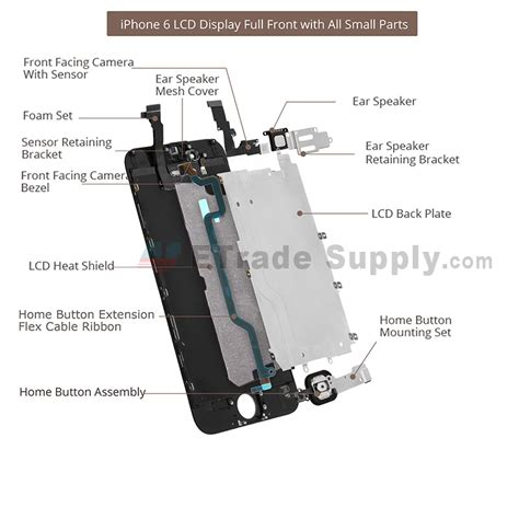 apple iphone 6 plus lcd assembly with frame and small