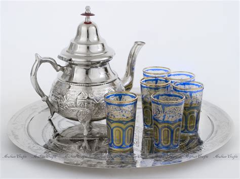 Ethnic Styles Kyushu Tea Set by Moroccan Tea Set 000119 B Moroccan Tea Set Silver Teapot