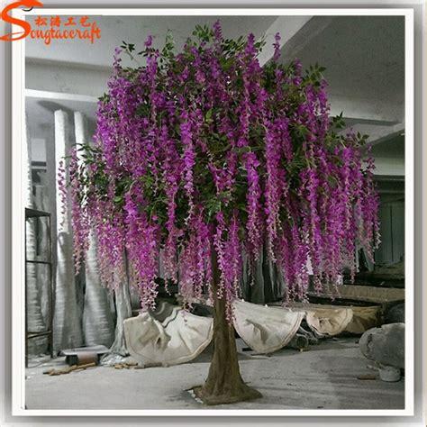 Sale Daun Bunga Wisteria Putih Bunga Artificial Bunga Plastik fiberglass batang menyesuaikan buatan wisteria bunga pohon