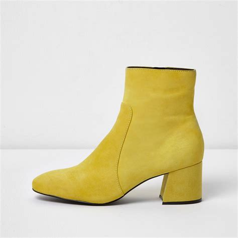 yellow boots lyst river island yellow suede block heel ankle boots in