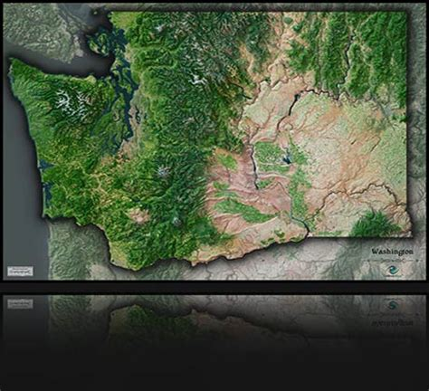 seattle map satellite outlook maps the most beautiful wall maps in the world