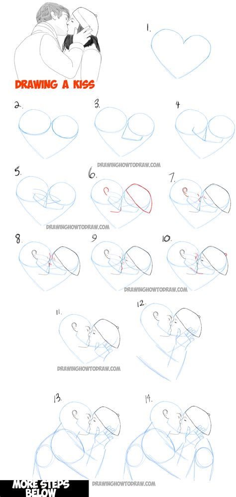 tutorial kiss how to draw romantic kisses between two lovers step by