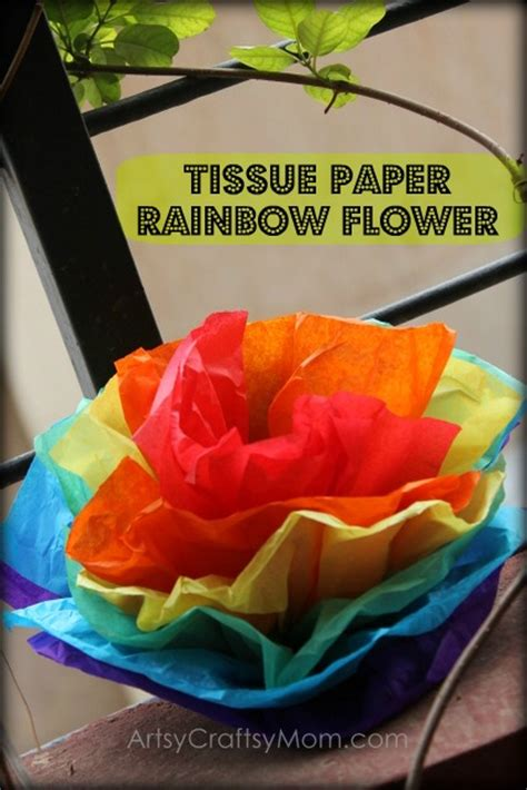 Craft With Tissue Paper - tissue paper rainbow flowers artsy craftsy