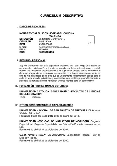Modelo De Curriculum Vitae Descriptivo Peru Curriculum Vitae Modelo