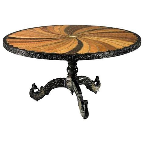 inlaid wood dining table 19th century ceylonese specimen wood inlaid dining