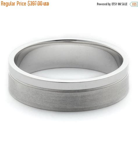 Wedding Bands Sale by On Sale Mens Wedding Bands 14k White Gold With Brushed And