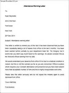 attendance warning letter template sample templates