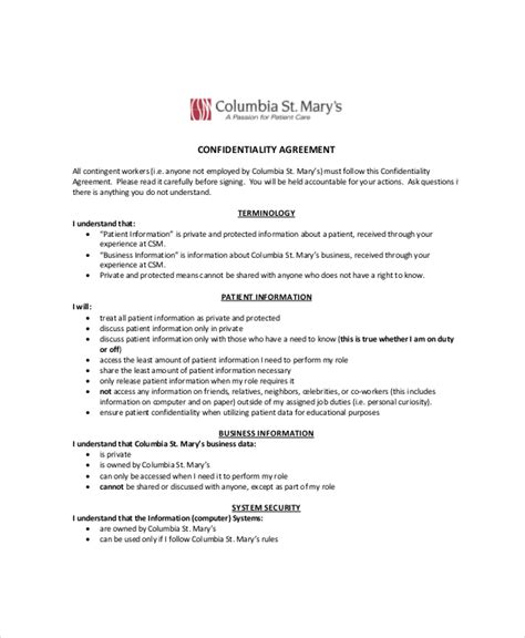 assistant agreement template 10 personal confidentiality agreement templates free