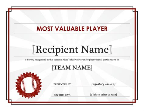 most valuable player award certificate editable title