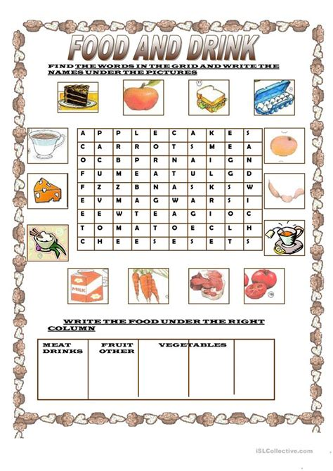 guess my word 35 food items worksheet free esl free esl worksheets food 1033 free esl speaking