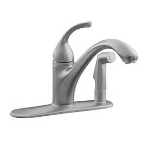 kitchen faucet kohler shop kohler forte brushed chrome 1 handle low arc kitchen faucet at lowes