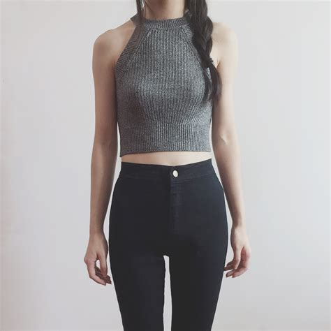 Gray Wool Knit Top S607 crop top knitted sweaters