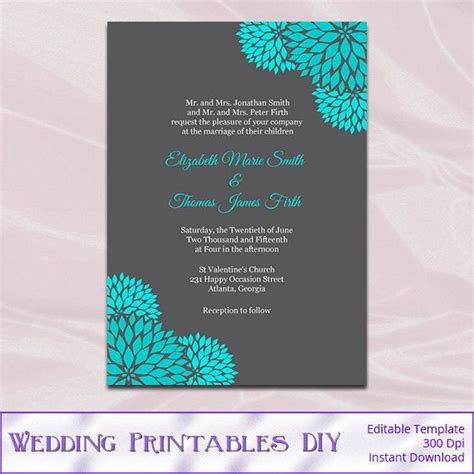 teal wedding invitations teal and gray wedding invitations template diy printable