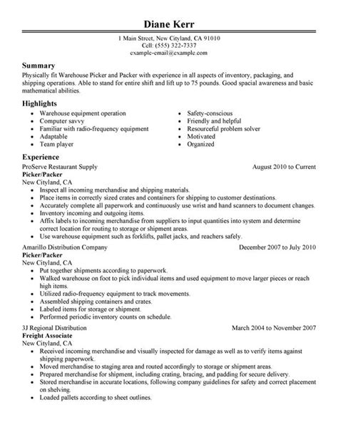 Sample Resume Objectives For Landscaping picker and packer resume sample my perfect resume