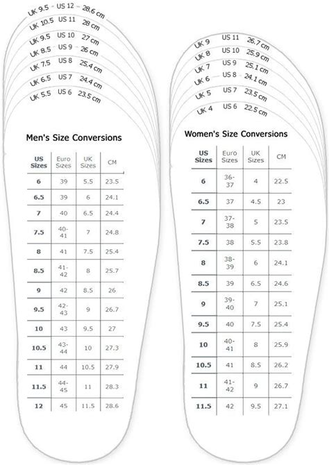 printable shoe size chart youth shoes measurement chart for printable adult men and woman