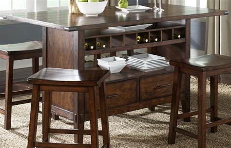 Oak Planked Counter Height Dining Table With Wine Storage Dining Table With Wine Storage