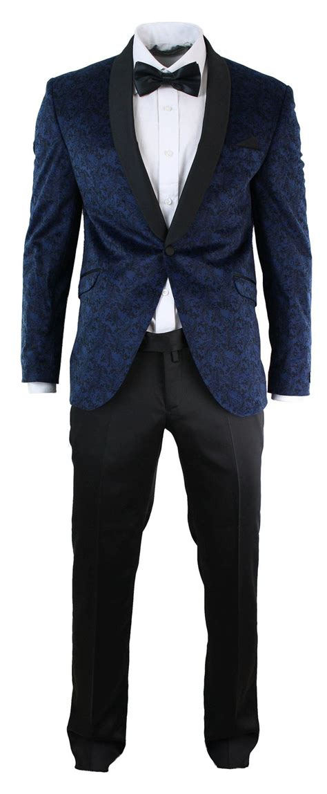 Blue Black Blazer mens slim fit velvet paisley blazer trouser tuxedo dinner suit blue black ebay