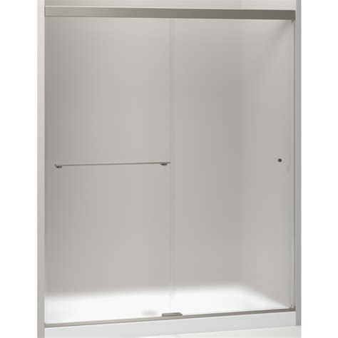 Kohler Sliding Shower Door Shop Kohler Revel 56 625 In To 59 625 In W Frameless Anodized Brushed Nickel Sliding Shower Door