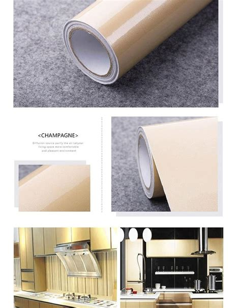 Kitchen Cabinet Adhesive Paper New Glossy Pvc Waterproof Self Adhesive Wallpaper For Kitchen Cabinet Wardrobe Cupboard Contact
