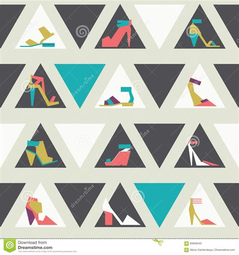 beautiful pattern using different shapes seamless illustration with beautiful heels and shoes