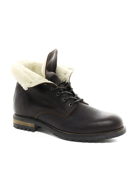 aldo brown boots aldo wiebe shearling boots in brown for lyst