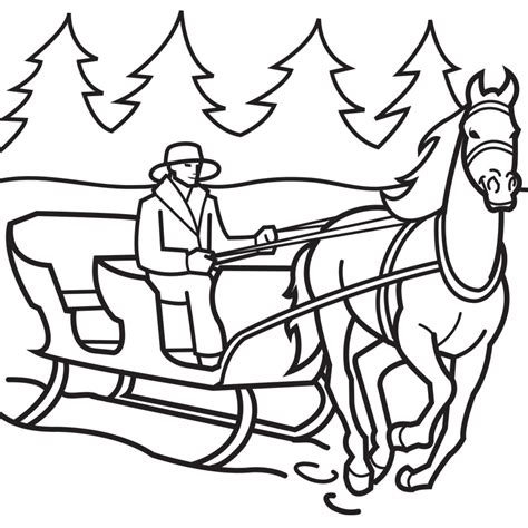 beautiful horse drawn sleigh coloring page coloring pages