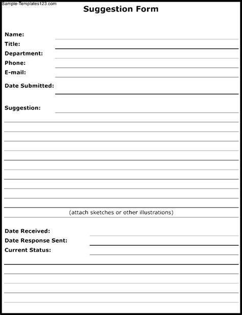 suggestion form template free suggestion form template sle templates sle templates