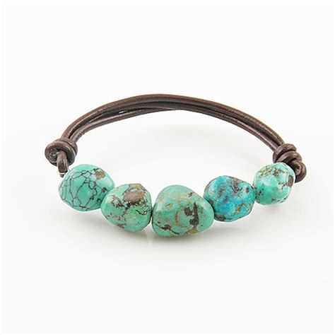 turquoise brown leather stretch bracelet kejajewelry