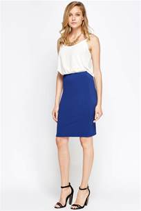 textured middle blue pencil skirt just 163 5