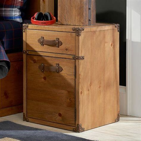 trunk style bedside tables storage furniture travelers bedside table pbteen