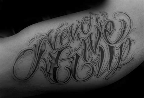 tattoo fonts up and down 60 never give up tattoos for phrase design ideas