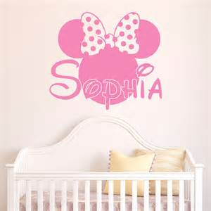Minnie Mouse Wall Sticker Girl Name Wall Decal Minnie Mouse Wall Decals Personalized