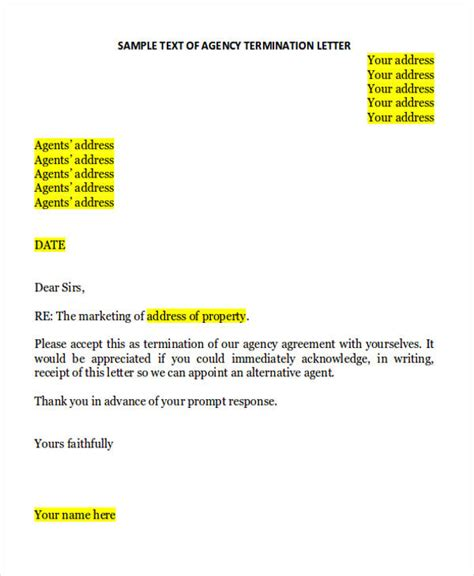 termination letter agency contract agreement letter formats