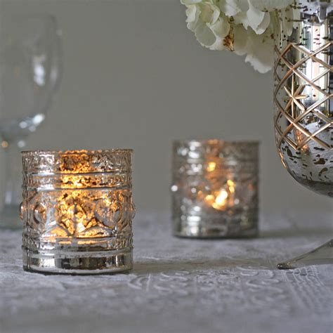 ornate antique silver tea light holder by the wedding of