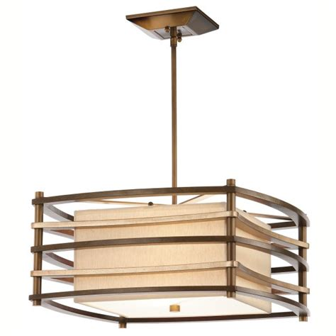 square deco style ceiling light on bronze frame with