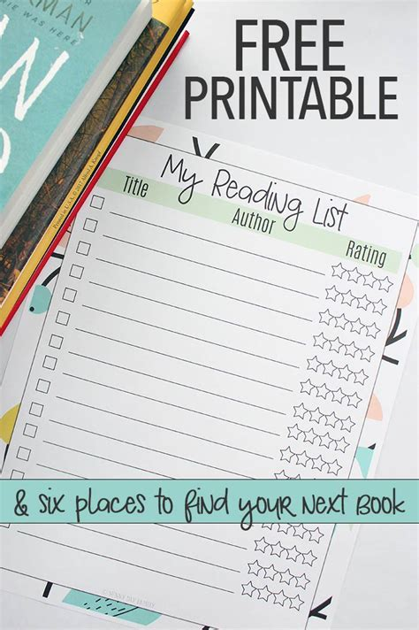 free printable planner book free printable reading list how to find great books for